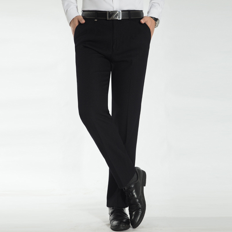 Middle aged mens casual pants pleated trousers mens trousers long pants autumn and winter formal work pants