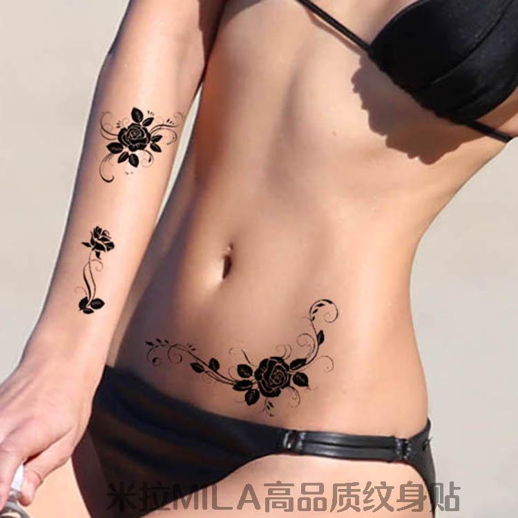 米拉/纹身贴防水女款持久 黑白个性红玫瑰素描 简单性感美丽贴花