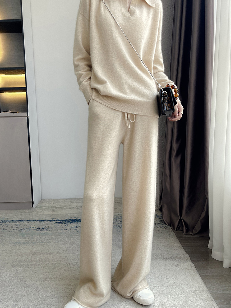 2021 autumn and winter 100% Cashmere suit womens solid color square neck Pullover Top with cashmere knitted wide leg pants