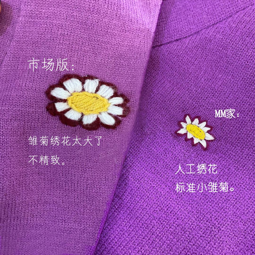 ins超火的紫色小雏菊针织衫开衫外套短款修身显瘦女上衣薄款夏季图片