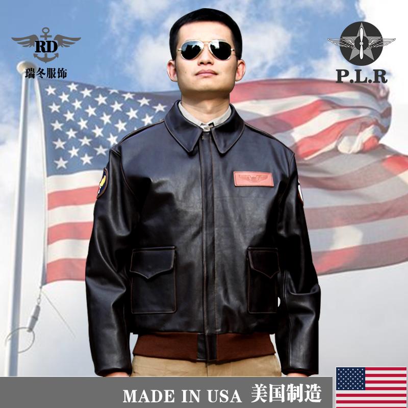 进口P.L.R A2 飞行夹克马皮带章二战空军飞行服真皮外套男 jacket