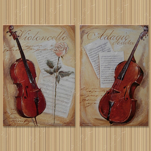 小提琴纯手绘油画 家居饰品静物装饰画客厅餐厅现代挂画