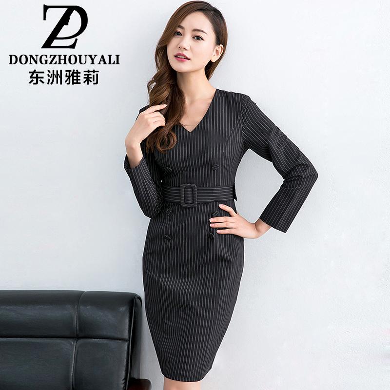 东洲雅莉2018新款大码女装修身性感V领双排扣竖条纹包臀连衣裙