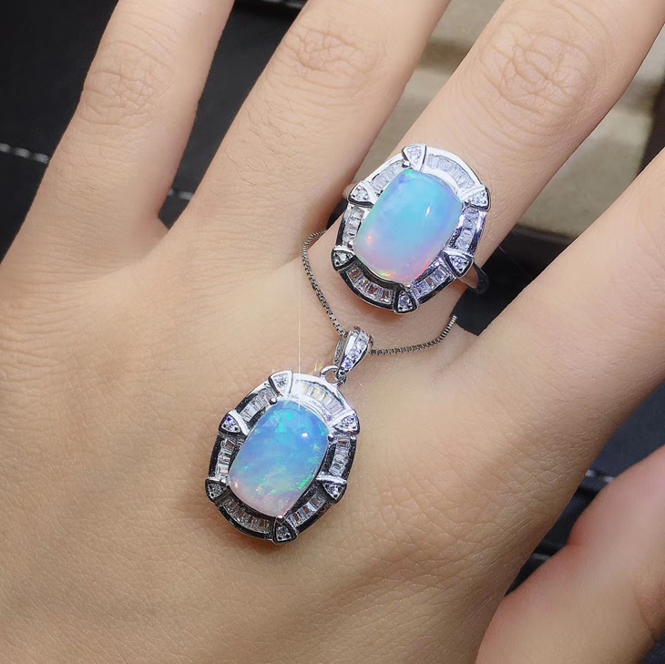 Jewelry jade jewelry set 925 silver plated 18K gold inlaid natural opal necklace pendant earrings ring for women