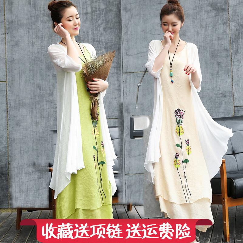 棉麻连衣裙女装中长款2018春装新款民族风两件套宽松套装裙子夏季