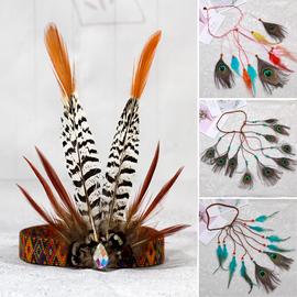 印第安酋长头饰 野人羽毛头饰 波西米亚民族风孔雀羽毛发饰发绳图片
