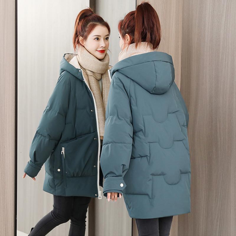 官图羽绒棉服女中长款2020年冬季韩版宽松加厚棉衣小个子棉袄外套