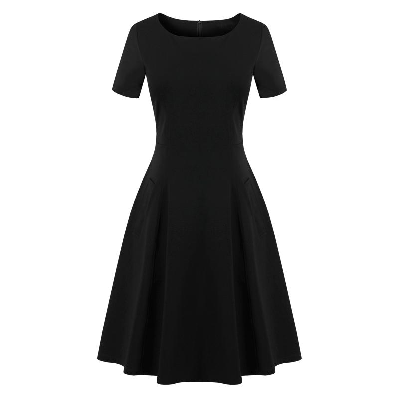 2020夏季新款女装修身显瘦赫本风小黑裙中长款正式场合黑色连衣裙