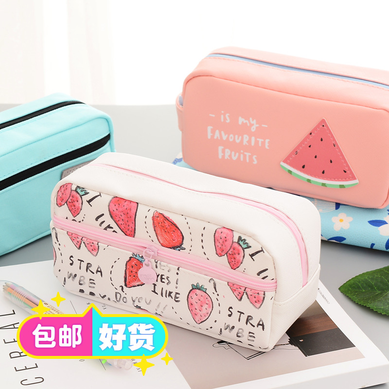 简约硅胶帆布女大容量笔袋 韩国可爱铅笔盒 创意初中小学生文具袋