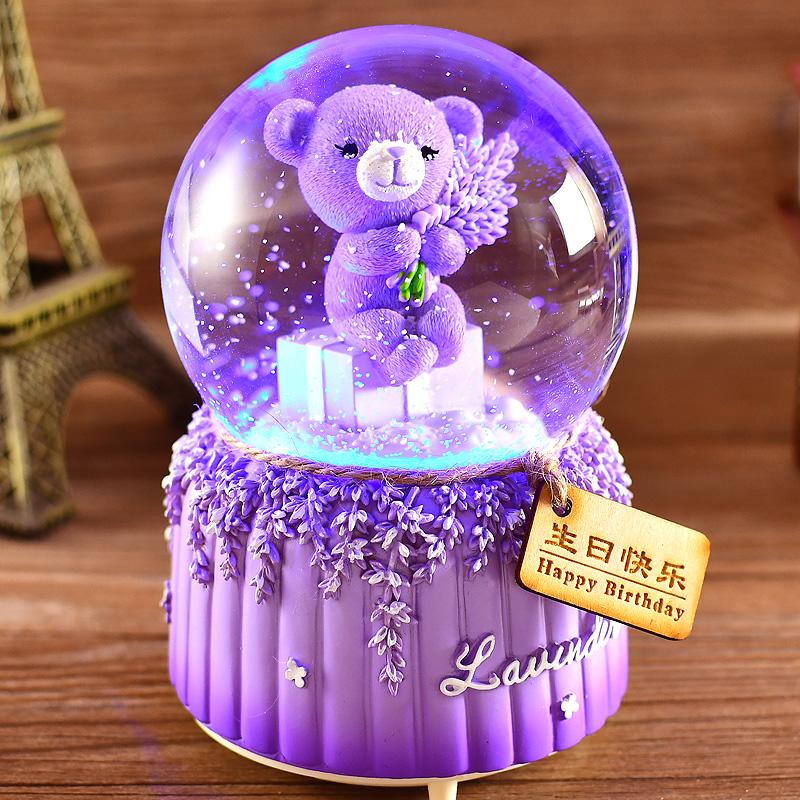 圣诞节自动飘雪水晶球音乐盒八音盒雪花生日礼物女生女孩儿童公主图片