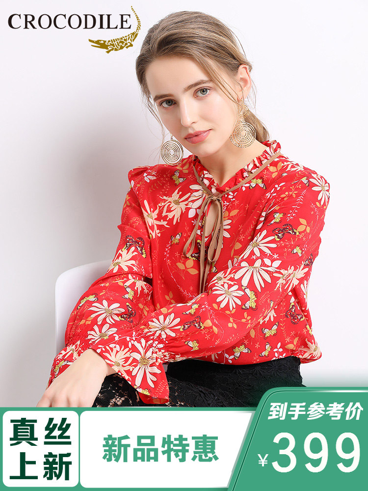 Crocodile T-shirt silk shirt womens spring and summer 2019 new slim fit lace tie V-neck lotus leaf sleeve mulberry silk top