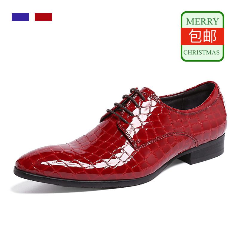 WOUFO新品英伦时尚潮流摩登尖头系带牛皮漆皮低帮皮鞋男鞋子包邮