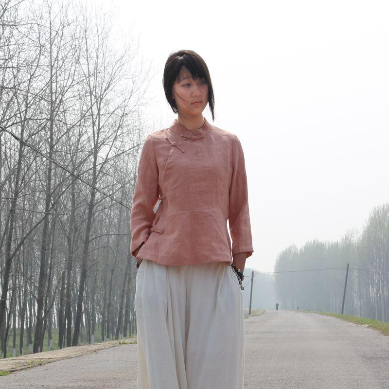 2016新品女装原创复古文艺布衣风格手工盘扣棉麻衬衫茶服女