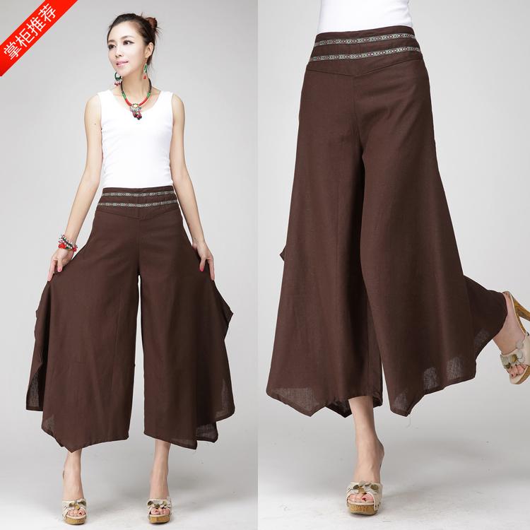 夏季中国风棉麻阔腿裤女裤子民族风女装宽松复古亚麻九分喇叭长裤