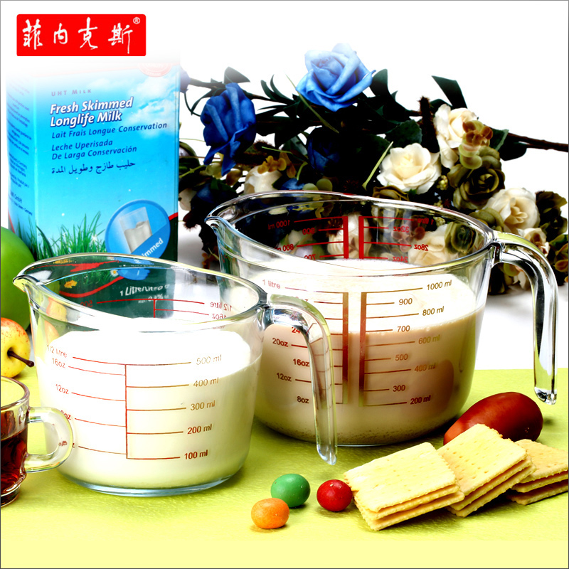 菲内克斯钢化玻璃耐高温带刻度量杯微波炉烤箱家用热牛奶杯子儿童