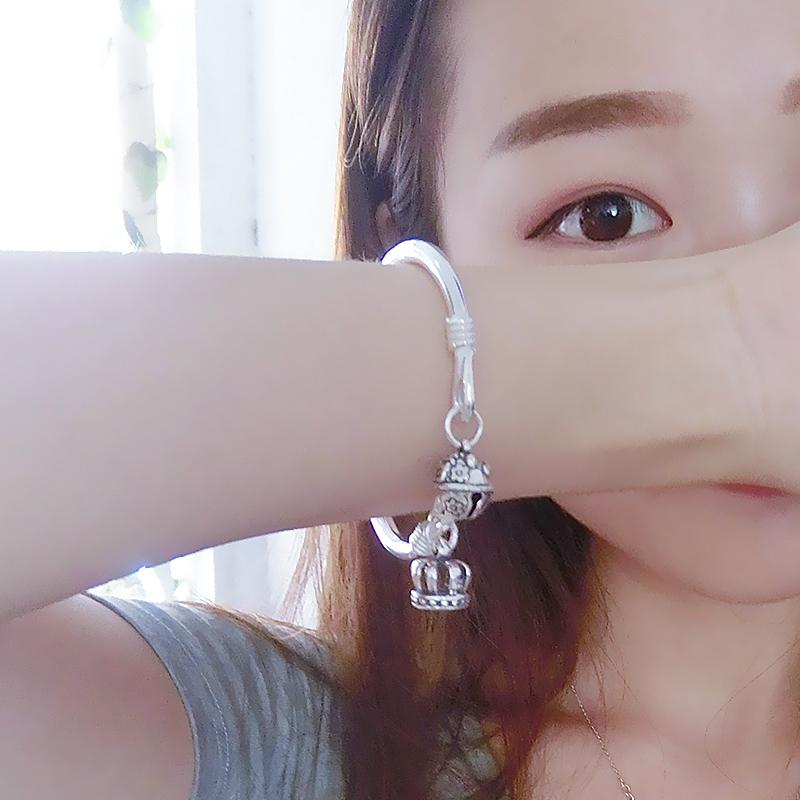 2018新款银手镯子女S999纯银细学生简约小清新实心铃铛送女友闺蜜(非品牌)