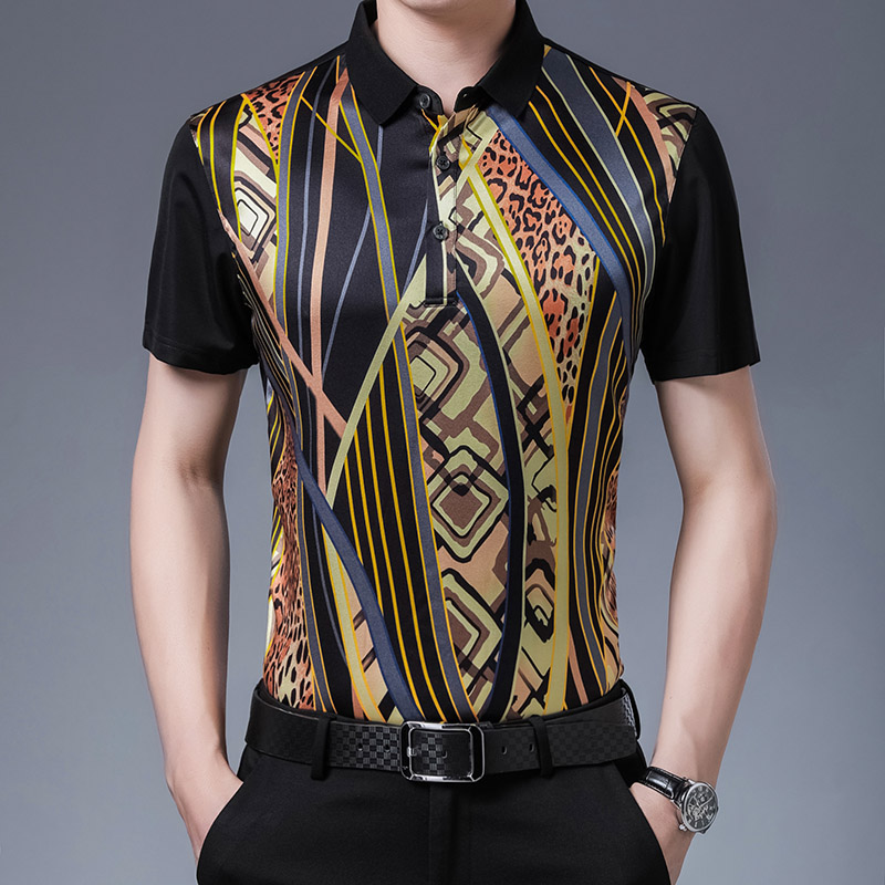Summer new middle aged mens mulberry silk short sleeve shirt Korean slim thin Satin Half Sleeve printed dads shirt