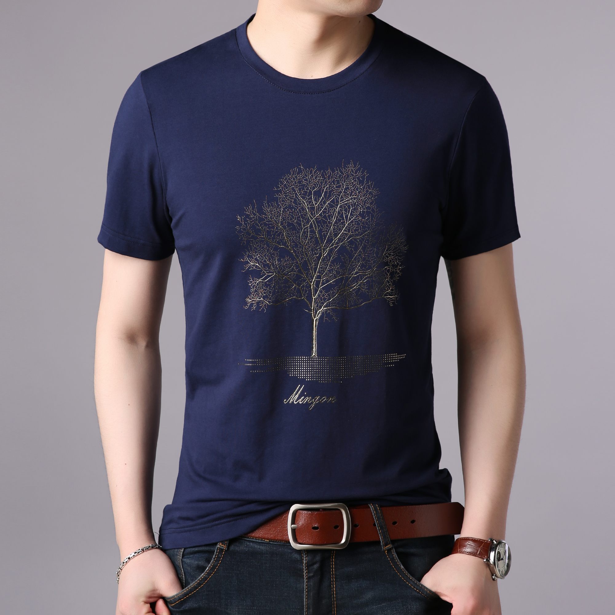 Men's 2020 summer new embroidered tree t-shirt men's short sleeve printed cotton casual top comfortable bottom coat