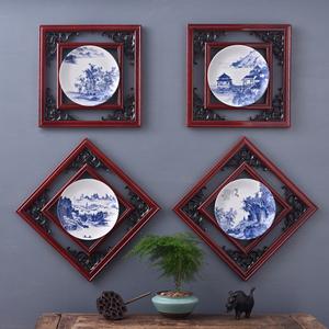 新中式山水木框陶瓷掛畫家居裝飾品茶樓飯店玄關客廳背景墻壁掛件