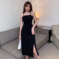 实拍吊带裙韩版纯色高腰修身显瘦褶皱扭结开衩中长连衣裙夏p55