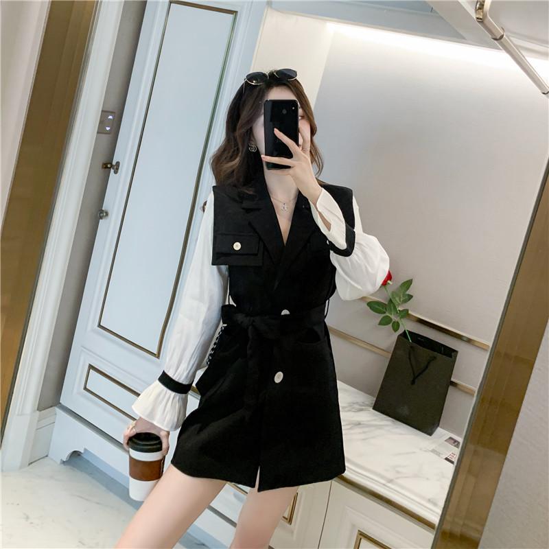 实拍2021春季风衣外套西装连衣裙喇叭袖系带收腰显瘦黑色裙子P95