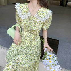 实拍现货2021 款娃娃领夏季短袖雪纺百褶碎花中长款气质连衣裙p79