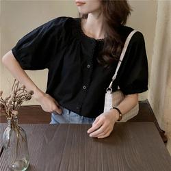 实拍 夏季纯色圆领泡泡袖上衣法式复古蕾丝拼接短袖衬衫1194#p57