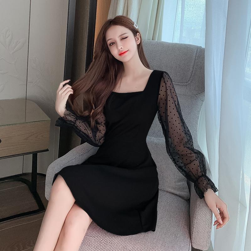 实拍2020秋季新款波点网纱拼接时尚方领礼服连衣裙P65