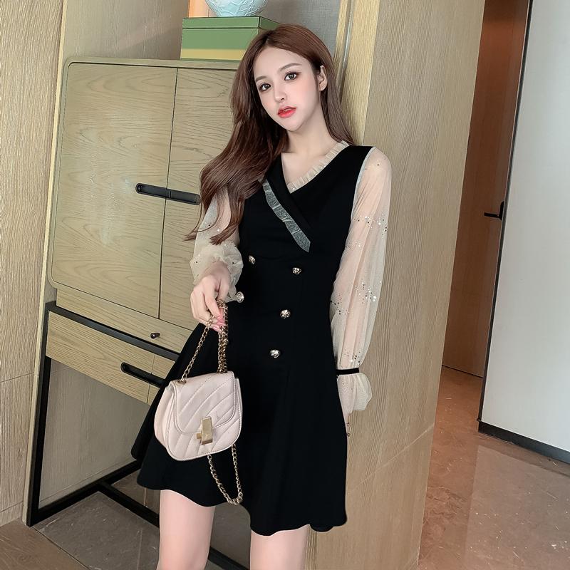 实拍2020秋季新款网纱拼接木耳边时尚显瘦礼服小黑裙P68