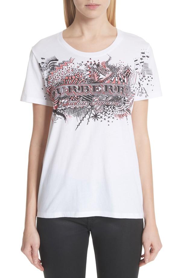 1美国代购包邮BURBERRY女装夏季薄款透气纯棉收腰圆领夏季短袖T恤