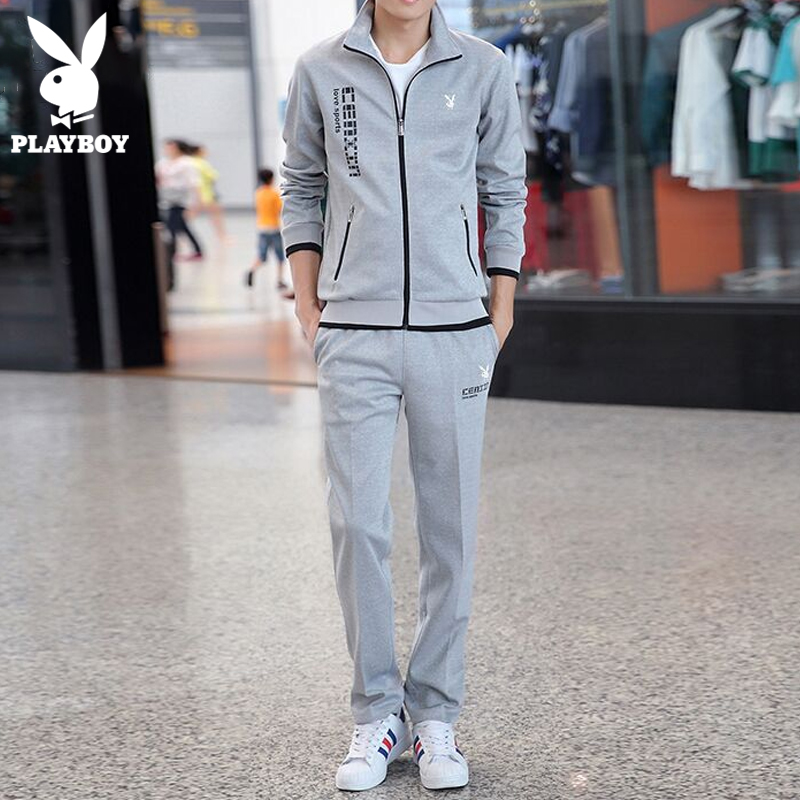 Playboy casual sweater suit men's spring and autumn new fashion with handsome men's jacket sports set