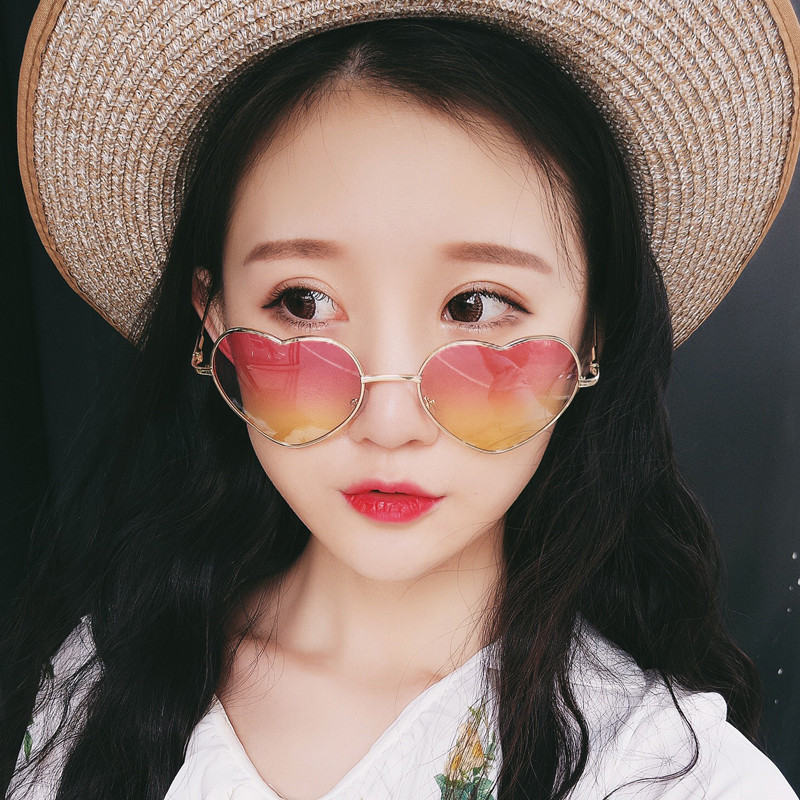 2017新款復古金屬愛心形墨鏡桃心男女太陽眼鏡軟妹原宿心型太陽鏡