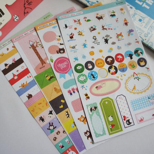 插页式 JOOZOO动物园 8入套装贴纸 装饰贴/随意贴/日记贴