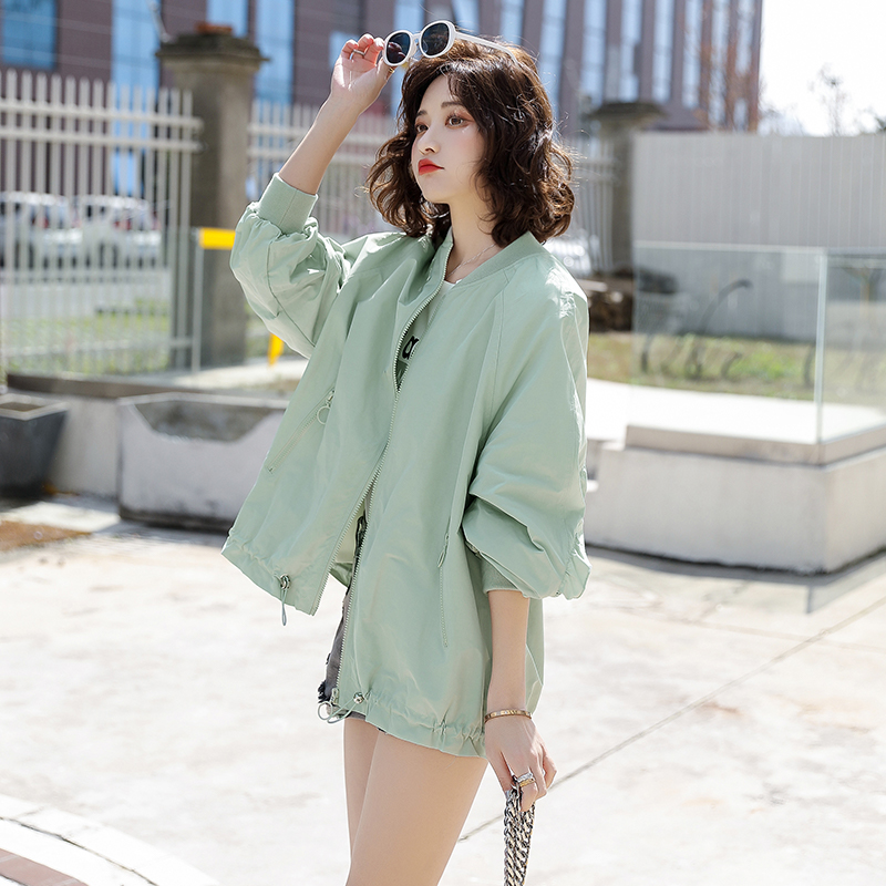 2020 new spring thin cardigan with top over ins fashion bomber loose jacket short coat womens Ruffle edge