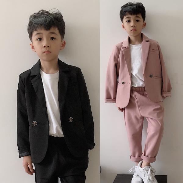春秋時尚童裝 韓版男童西裝二件套 兒童小西服套裝花童帥氣禮服