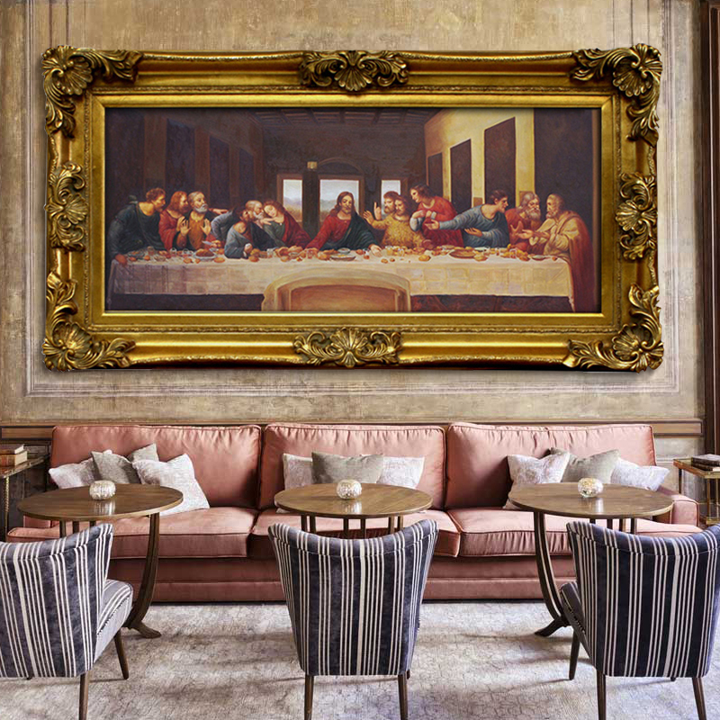 瑞杰 手绘欧式世界名画壁画餐厅油画《最后的晚餐》达芬奇0037
