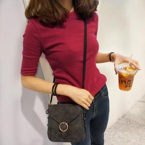 韩版夏装新中袖T恤女纯棉圆领修身五分袖打底衫半袖纯色体恤上衣