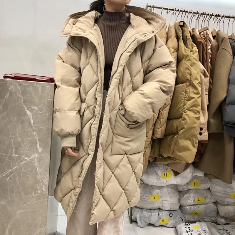 秋冬季新�n���r尚百搭菱格大棉�\�p口袋中�L款面包服�B帽棉衣外套