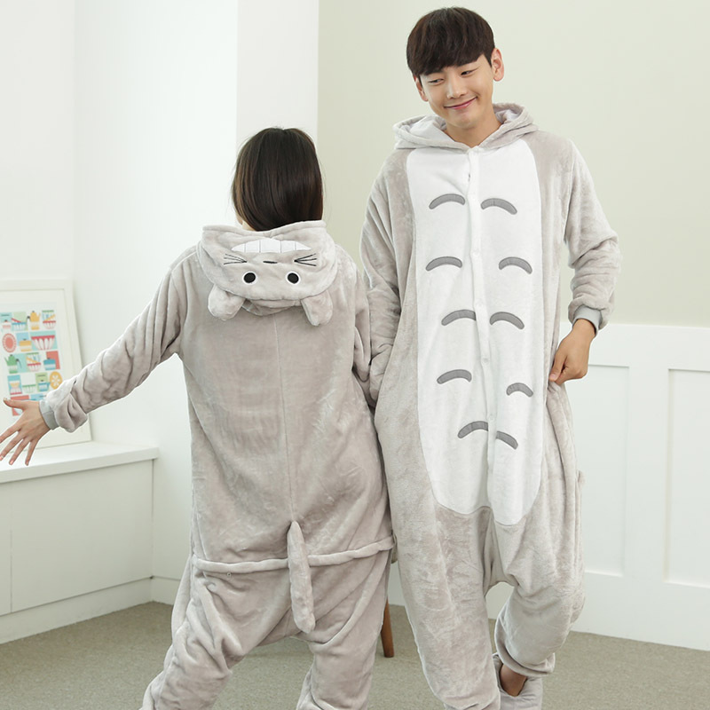 法兰绒卡通龙猫动物连体睡衣秋冬季男女家居服珊瑚绒亲子表演出服