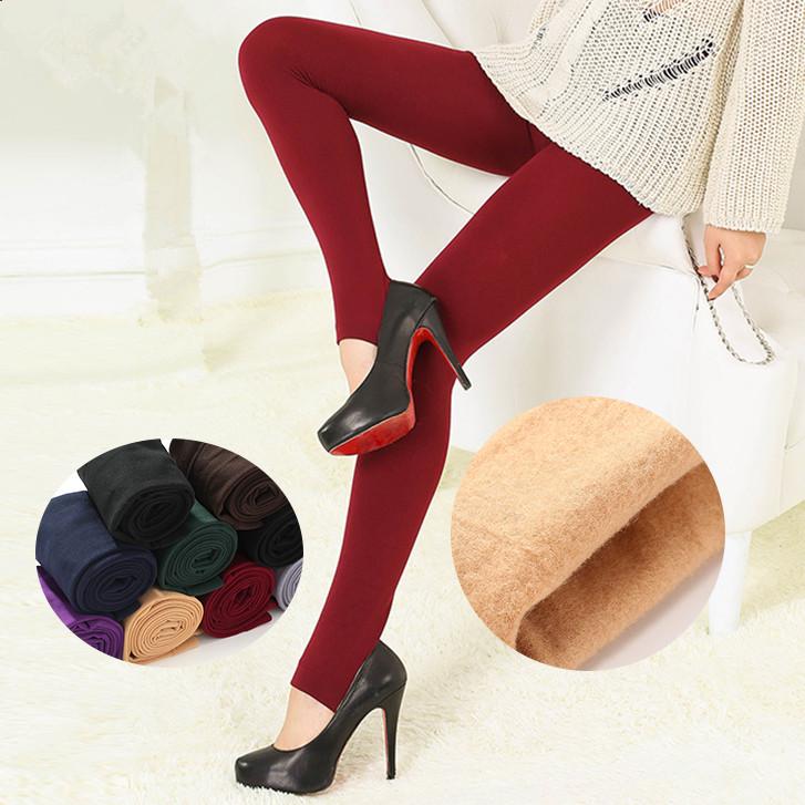 秋冬加绒加厚外穿打底裤女装薄款连丝袜女加绒加厚带洞踩脚打底裤
