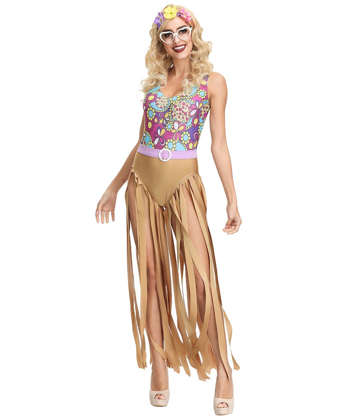 复古70年代欧美迪斯科嬉皮士hippiecostume舞会表演万圣节服装女