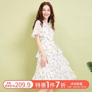 阿卡2020夏新款 连衣裙女收腰显瘦气质雪纺V领蛋糕裙仙女裙子