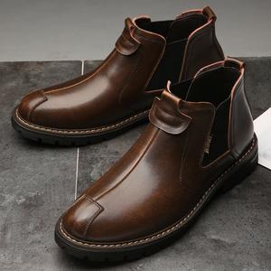 冬季加绒切尔西短靴高帮中帮英伦风真皮鞋子牛皮靴工装马丁男靴子