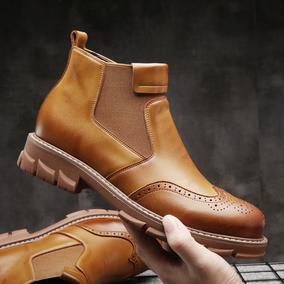秋季英伦风中帮布洛克雕花牛皮靴