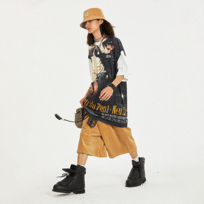 PAGAN OF HEROISM(POH)新桥恋人海报印花宽松街头复古满印短袖Tee