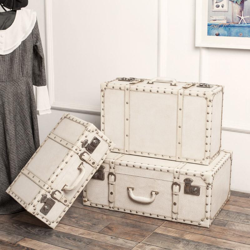 欧式做旧复古白色皮箱手提木箱子店铺橱窗陈列摆设道具收纳装饰箱