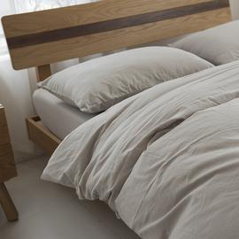 日系纯棉水洗棉麻四件套简约文艺素色被套可定制双人床单床上用品图片
