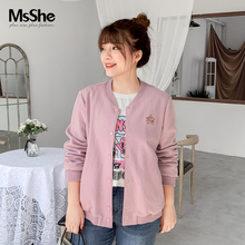 MsShe enlarged size women's wear 2009 new autumn dress fat mm Korean version Embroidered Baseball suit loose jacket 1909070