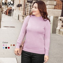 Msshe big-size Winter dress woman 2018 new fat mm foundation bottom shirt 48% wool sweater M1843013
