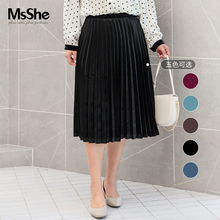 MS she large women's 2019 new autumn fat sister elegant retro velvet pleated long skirt